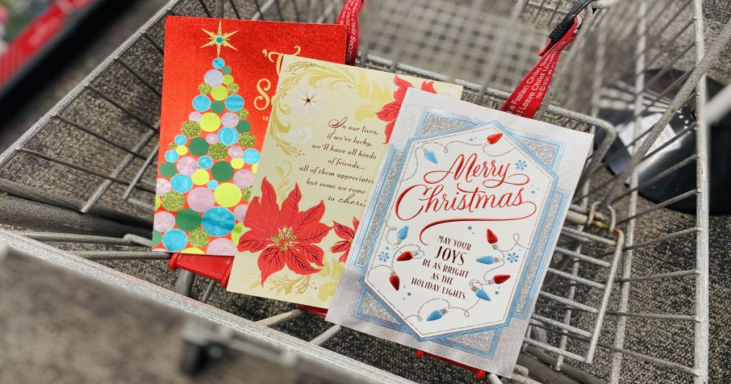 three christmas cards in cart