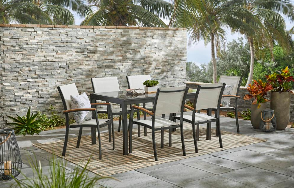 large patio with table and chairs