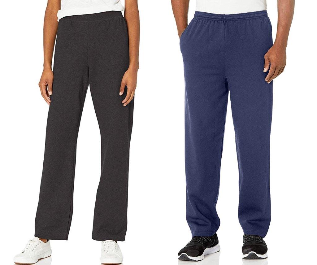 woman modeling black hanes sweatpants and man modeling blue hanes sweatpants