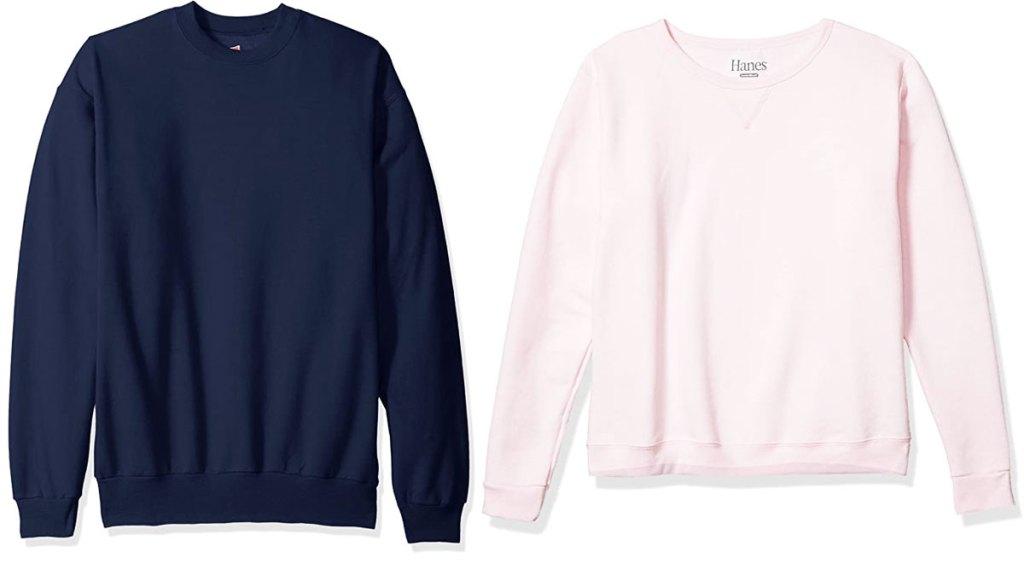 navy blue and light pink crewneck hanes sweatshirts
