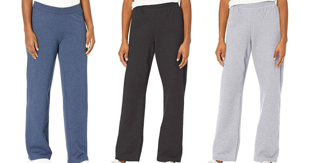 three women modeling hanes sweatpants in blue, black, and light grey colors