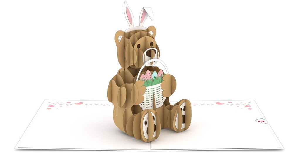 card with a bear holding a basket of Easter eggs
