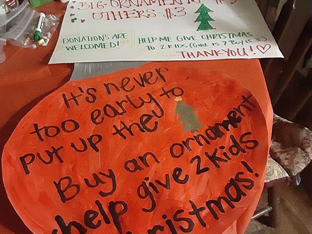 homemade Christmas ornaments sale sign