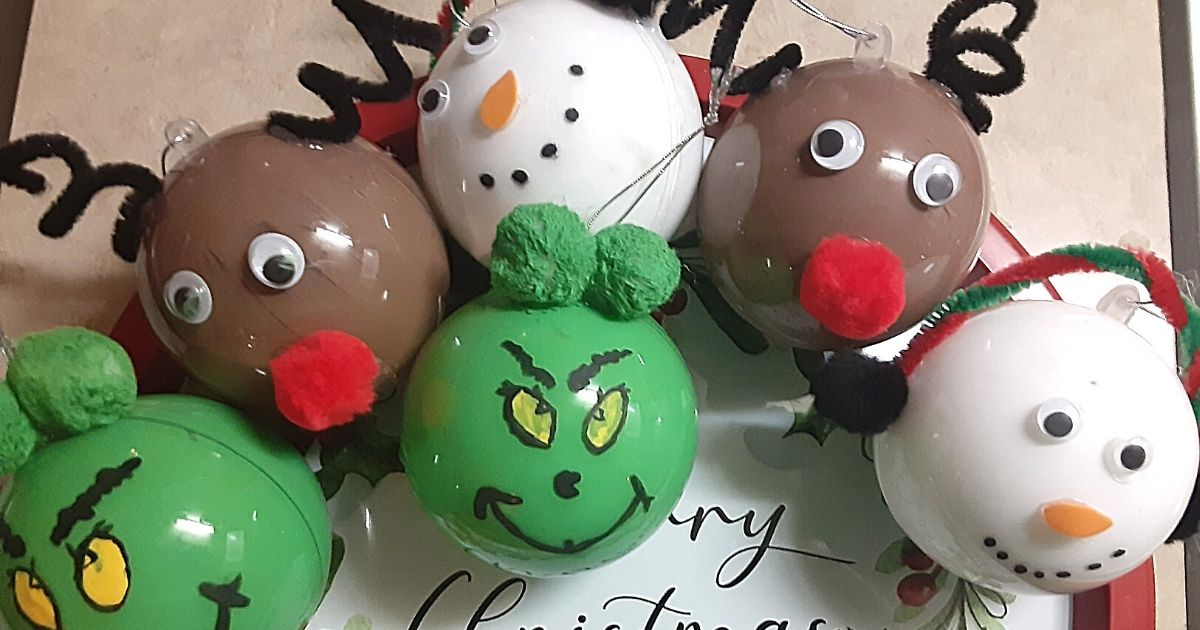 Holiday character themed homemade ornaments