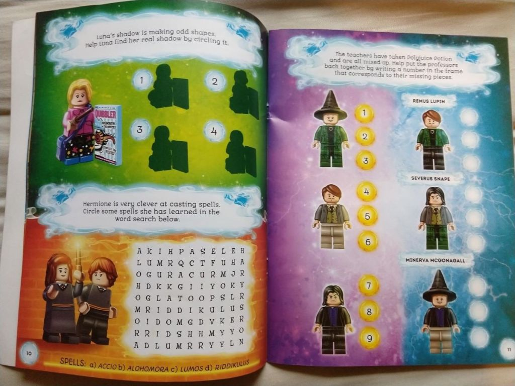 two pages in a Harry Potter Activity Book