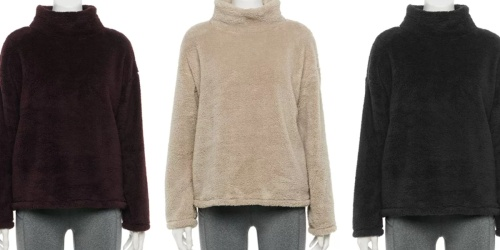 Women's Double-Sided Sherpa Sweater Just $11 (Regularly $40) + Free Shipping for Select Kohl's Cardholders