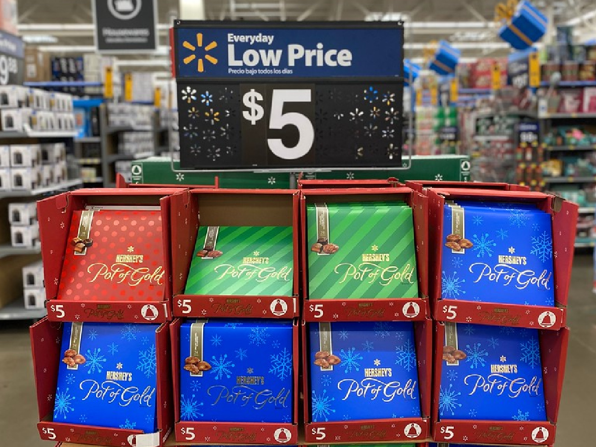 boxes of hersheys pot of gold chocolates on display in a walmart store