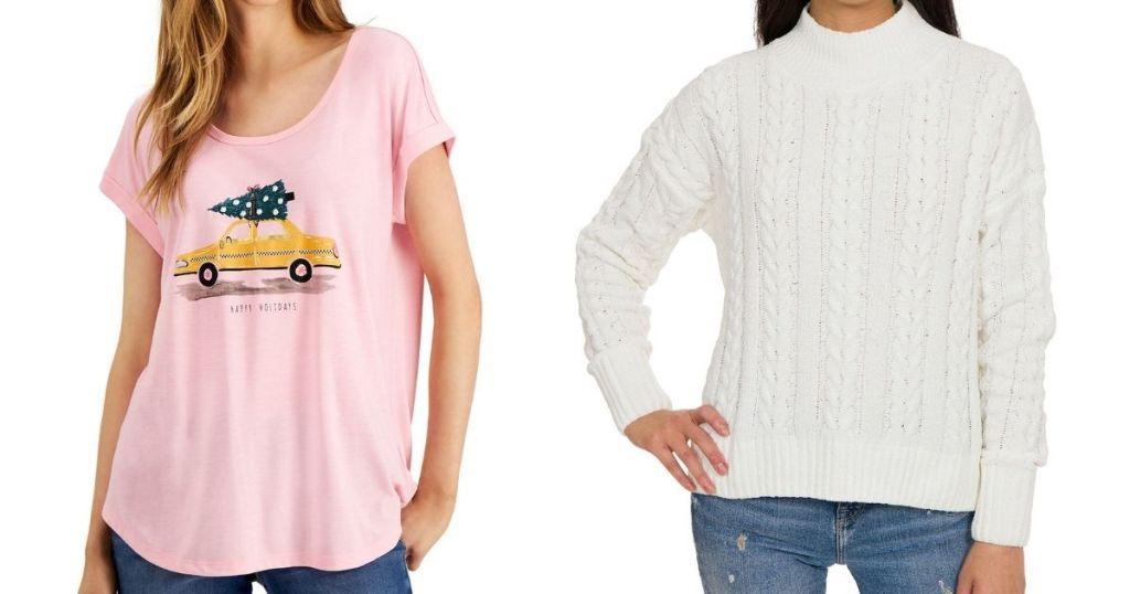 two women modeling shirts