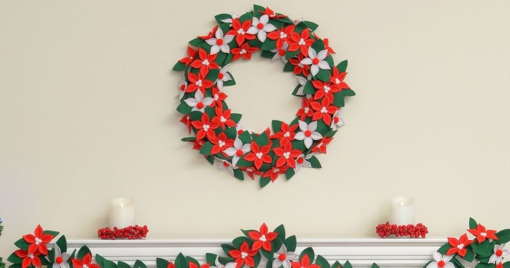 wreath on the wall above a mantle