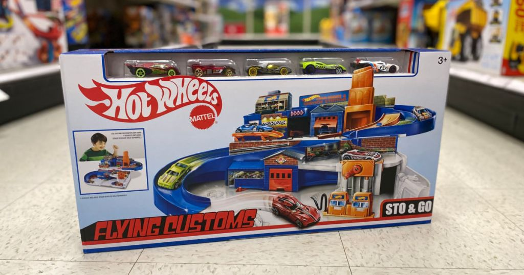 toy car garage in middle of aisle