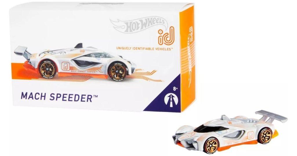 Hot Wheels id Mach Speeder next to packaging