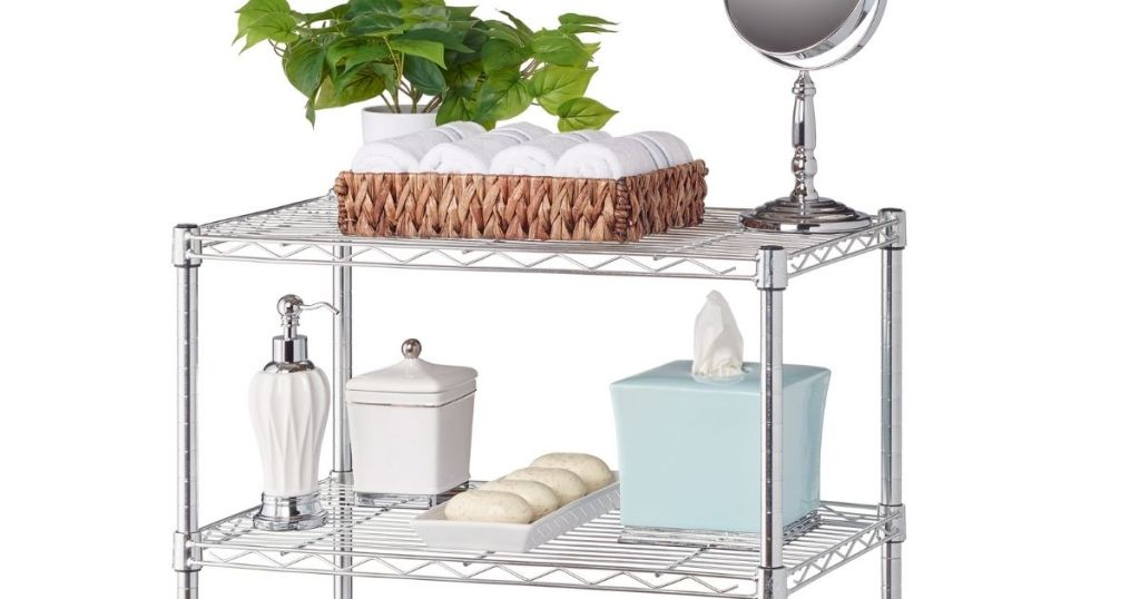 Hyper Tough 3-Tier Shelving with items on it