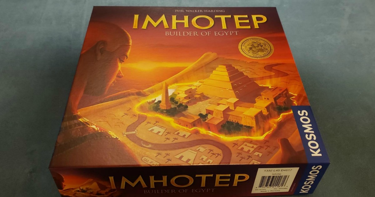 Imhotep Builder of Egypt Board Game on a blue surface in the box