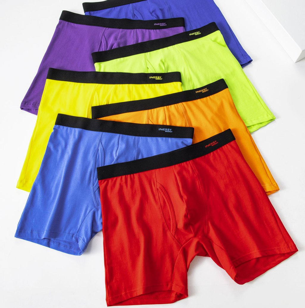 7 pairs of men's boxers in a rainbow of colors