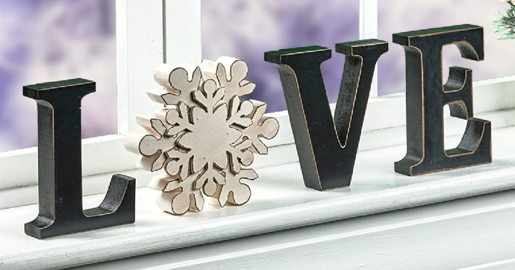 love sign with snowflake for O