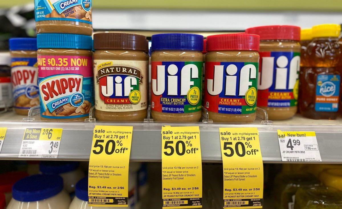 Jif Peanut Butter on walgreens store shelf