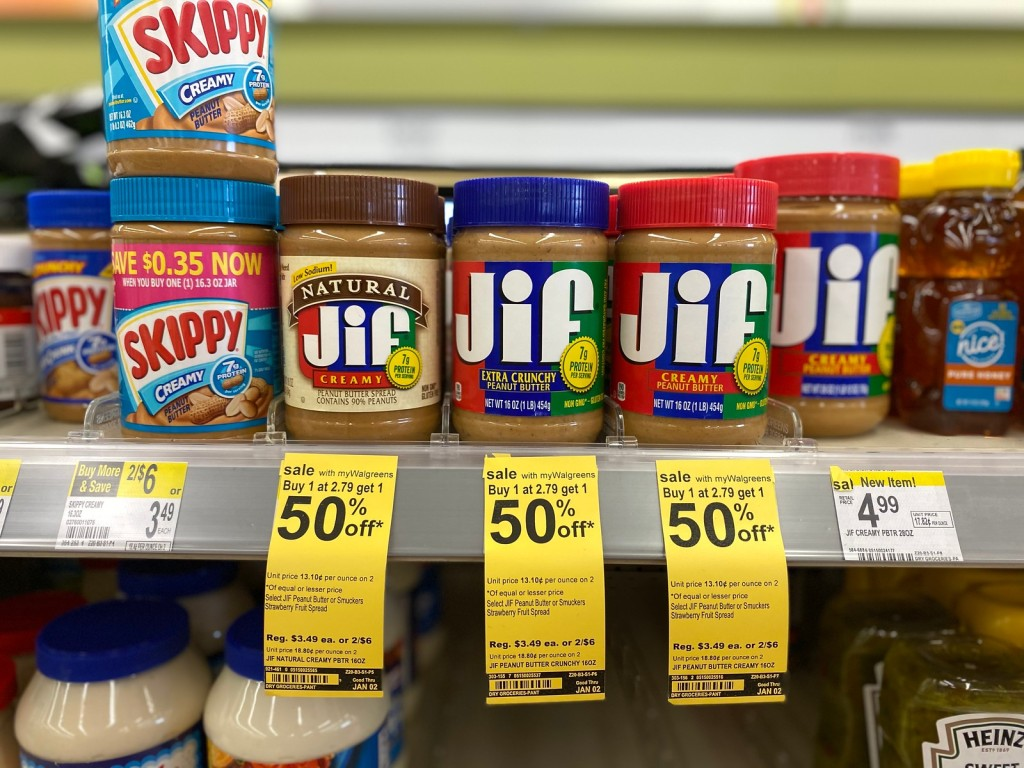 Jif Peanut Butter on walgreens store shelf