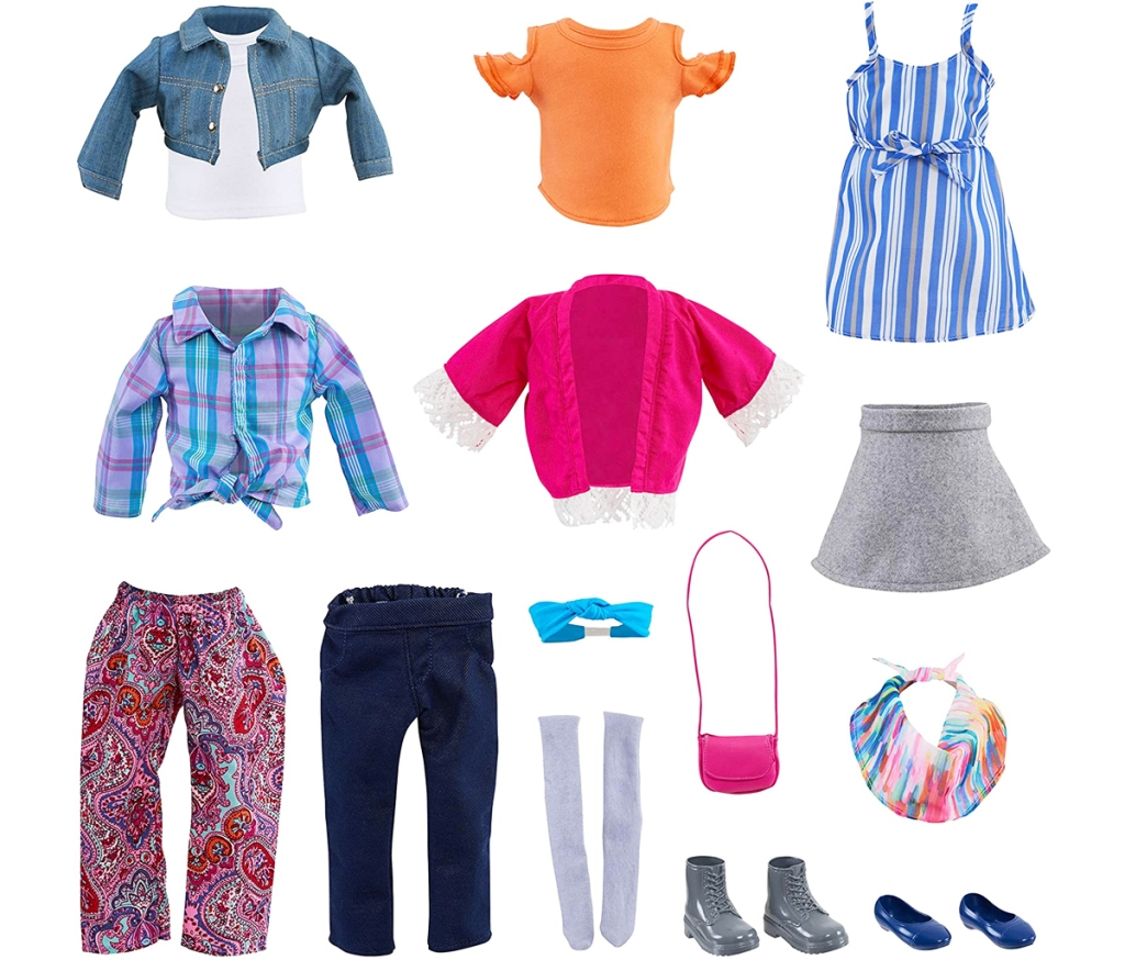 aneka atasan, bawahan, gaun, dan aksesori boneka