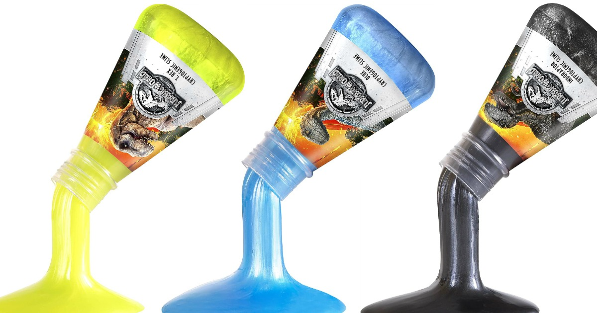 three jurassic world bottled slimes being poured out