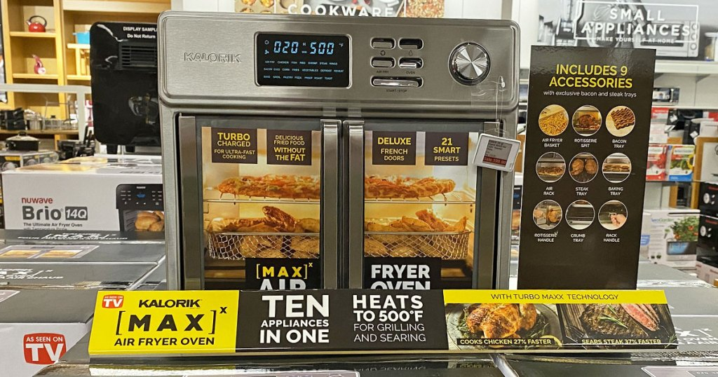 stainless steel air fryer oven with double doors on display at kohl's