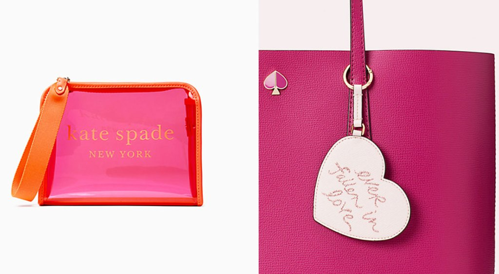 pink and orange see-through kate spade small wristlet and pink heart shaped keychain hanging on a dark pink purse