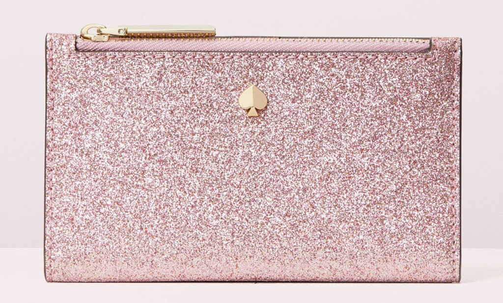pink glitter kate spade wallet with zip-top