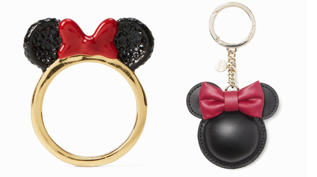 gold ring with minnie mouse ears and red bow on top and leather minnie mouse head keychain