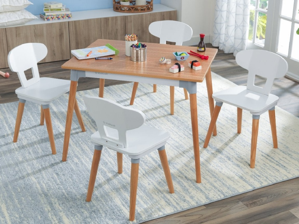 kidkraft mid-century table and chairs set