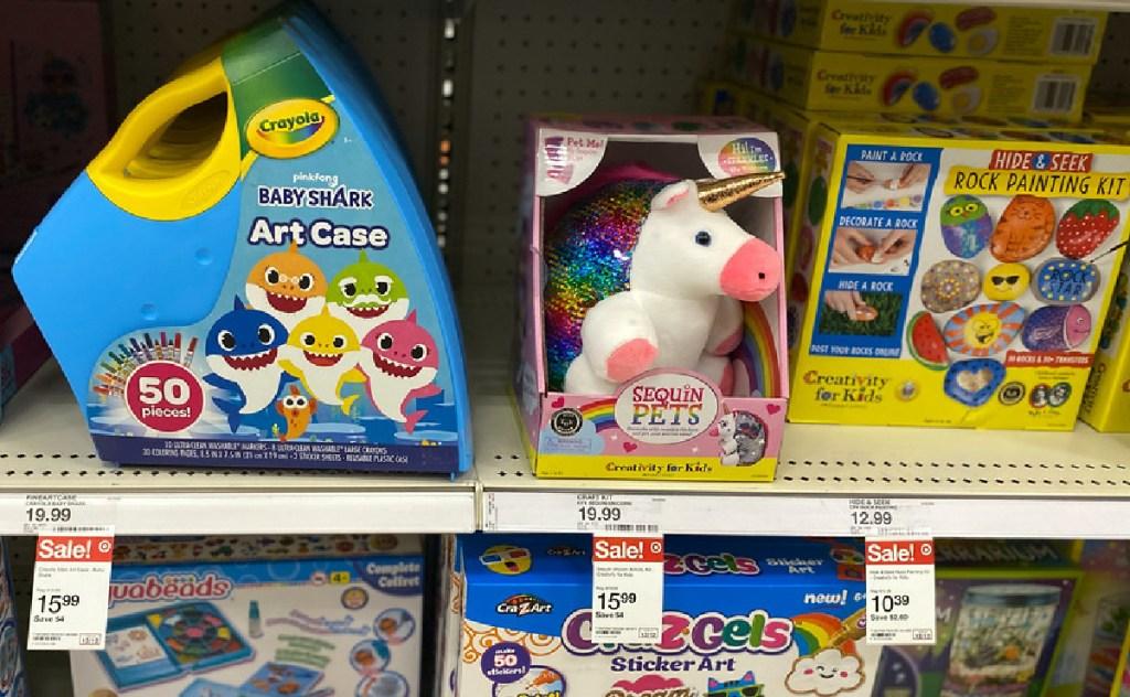 kids craft kits on store shelf