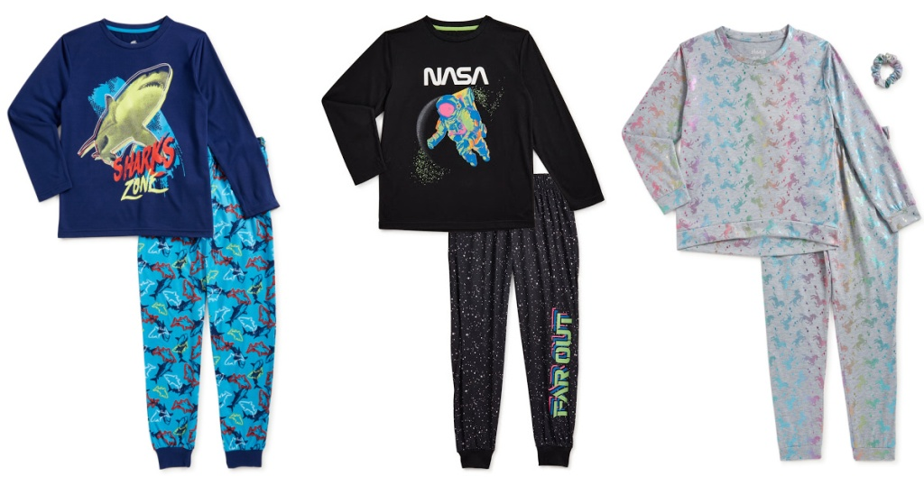 Three styles of kids pajama sets from Walmart