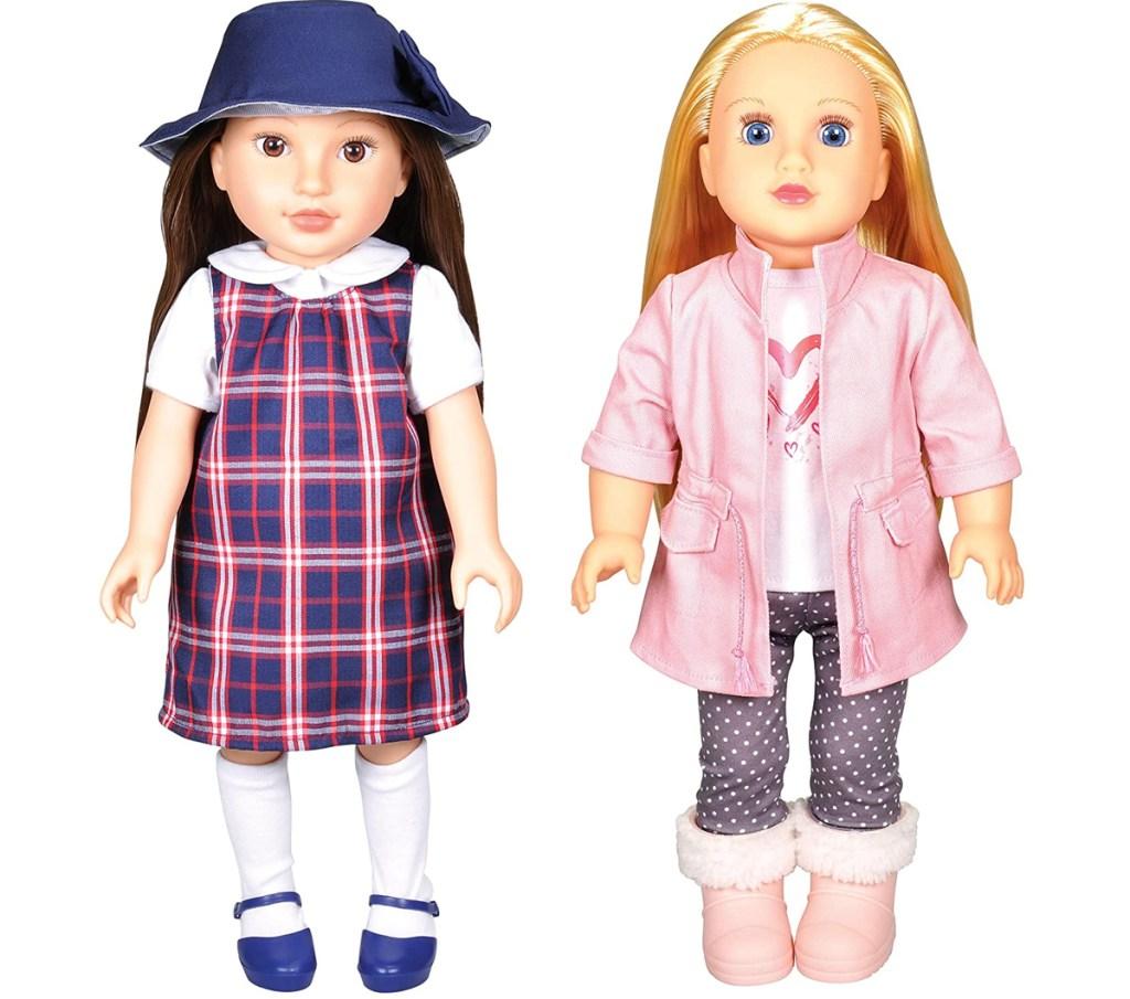 "dua 18"" boneka dengan rambut hitam dan pirang"