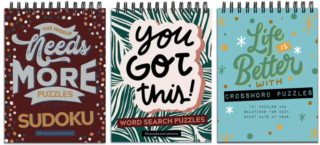 3 sudoku and word puzzle books
