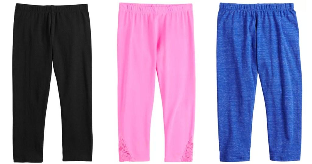 3 pairs of so girls core leggings