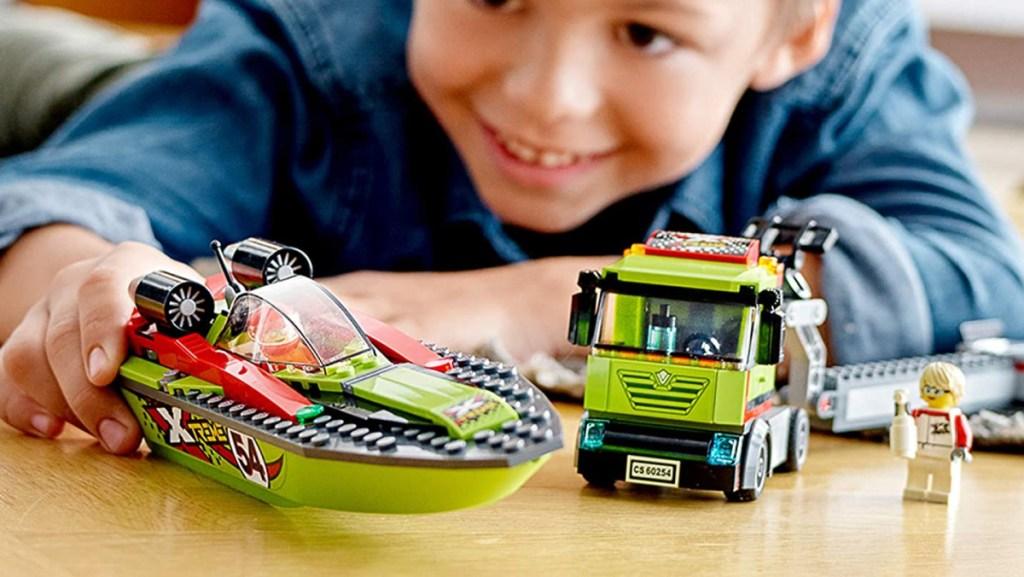 LEGO City Race Boat Transporter Vehicle 238-Piece Building Set