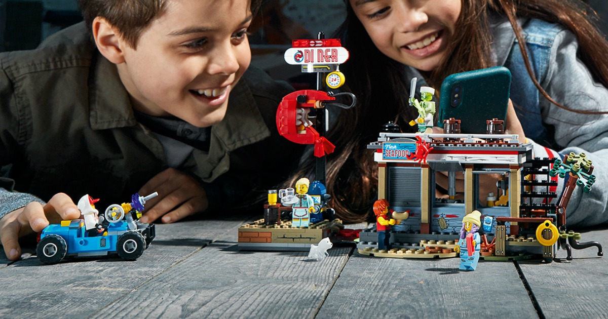 Kids playing with a LEGO set