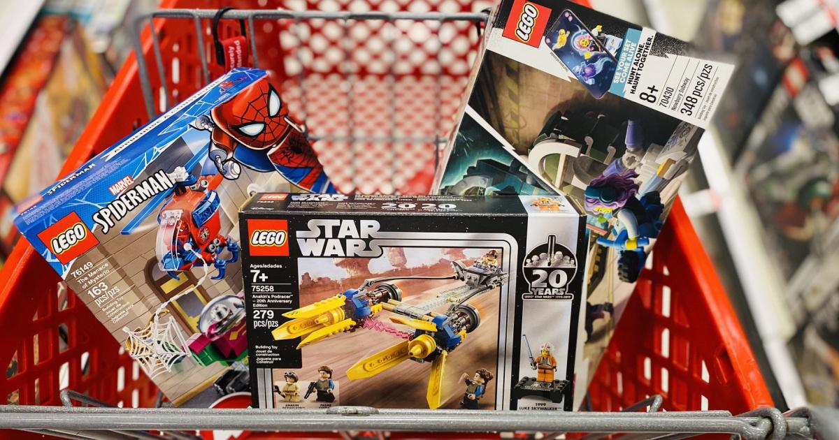target shopping cart full of LEGO sets