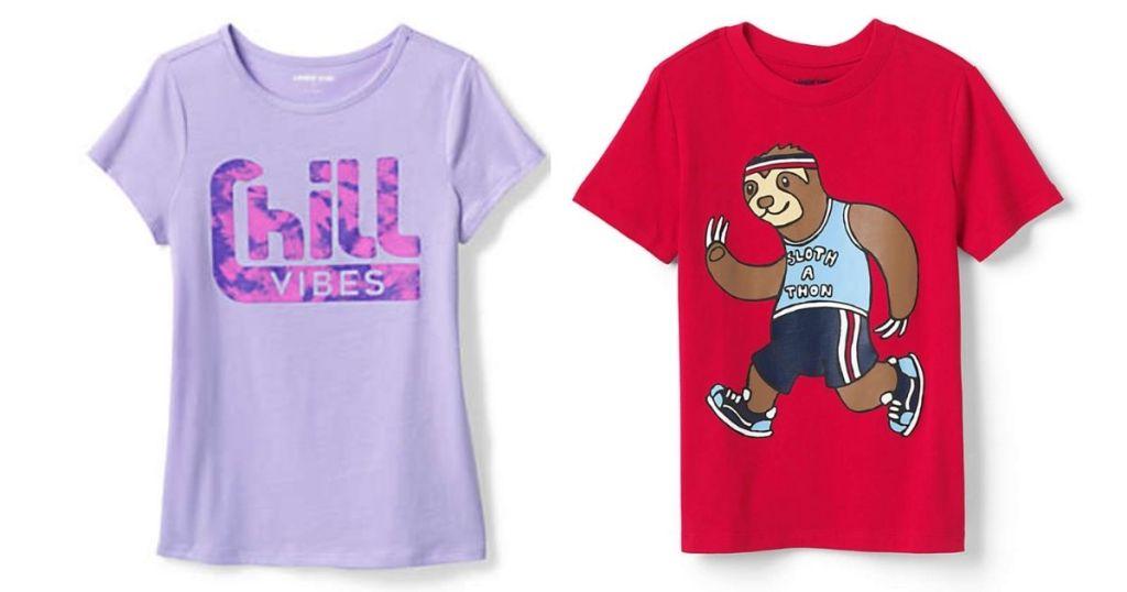 Lavender dan Red Lands End Kids Graphic Tees
