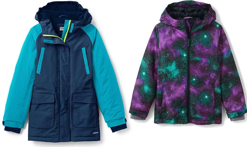 navy blue girls parka with teal colored sleeves and a toddler parka with purple and teal galaxy print