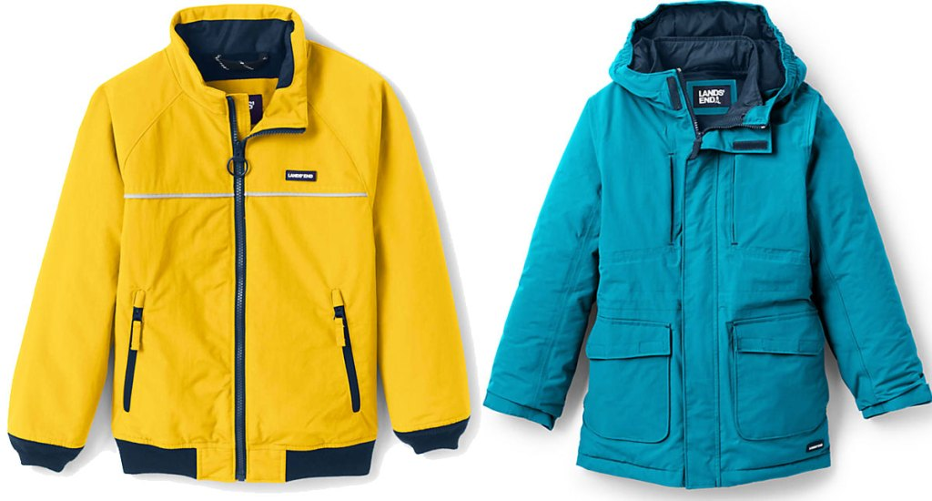 yellow kids jacket with black zipper and trim and teal colored kids parka