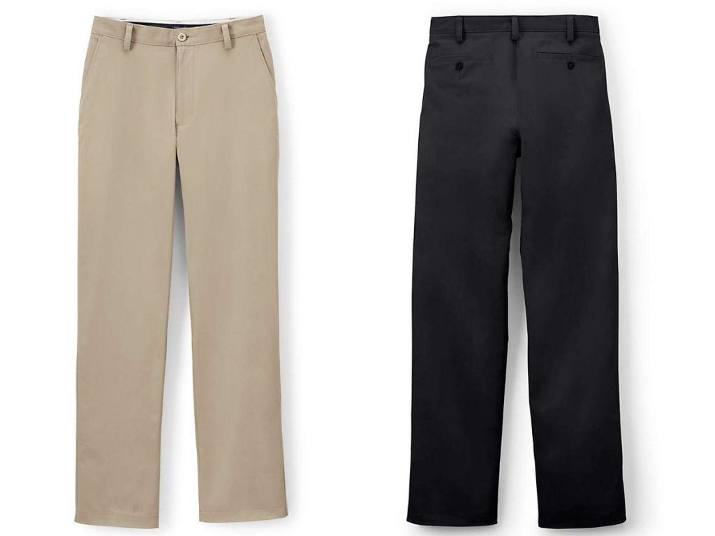 Lands End Men's Chino dalam warna khaki dan hitam