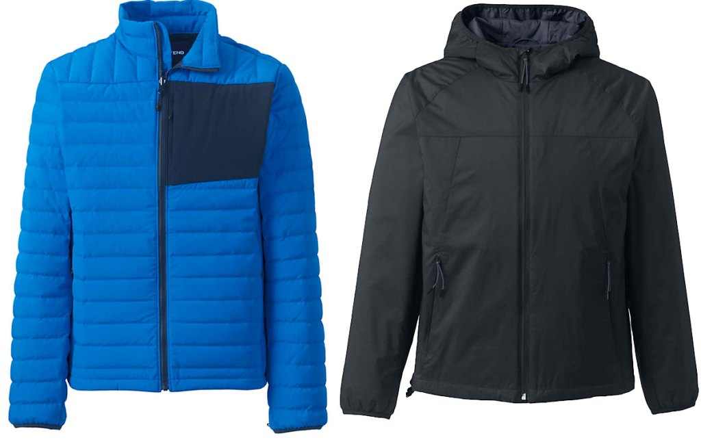 blue puffer jacket with navy blue breast pocket and black hooded jacket