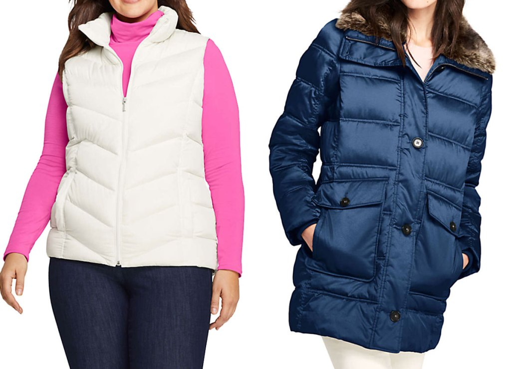 woman in pink long sleeve shirt with white puffer vest over it and woman in navy blue parka jacket
