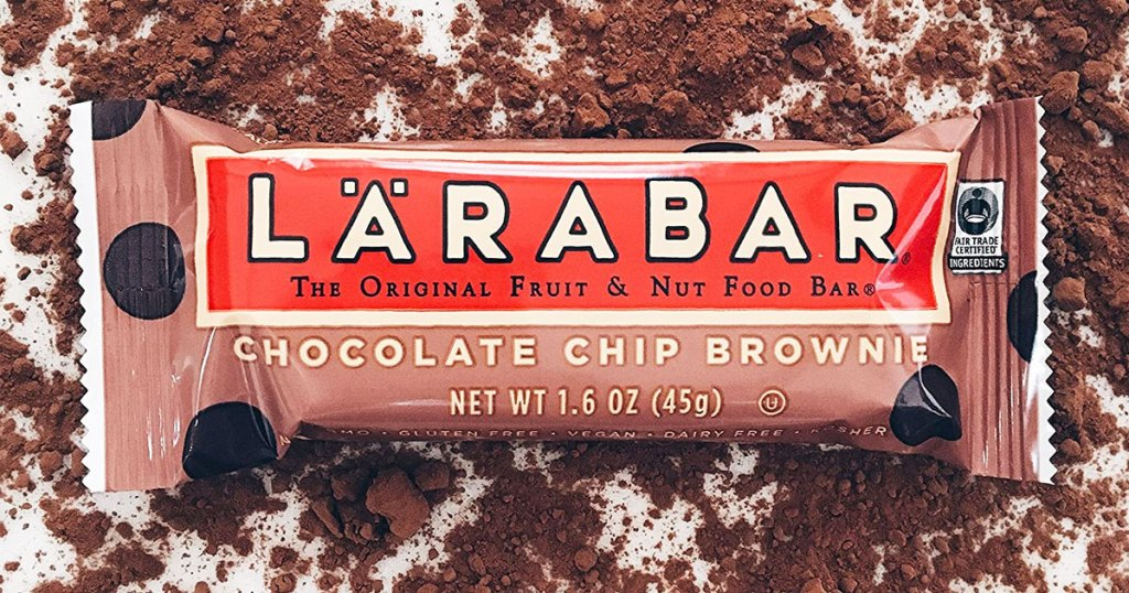 larabar chocolate chip brownie bar in a pile of cocoa powder
