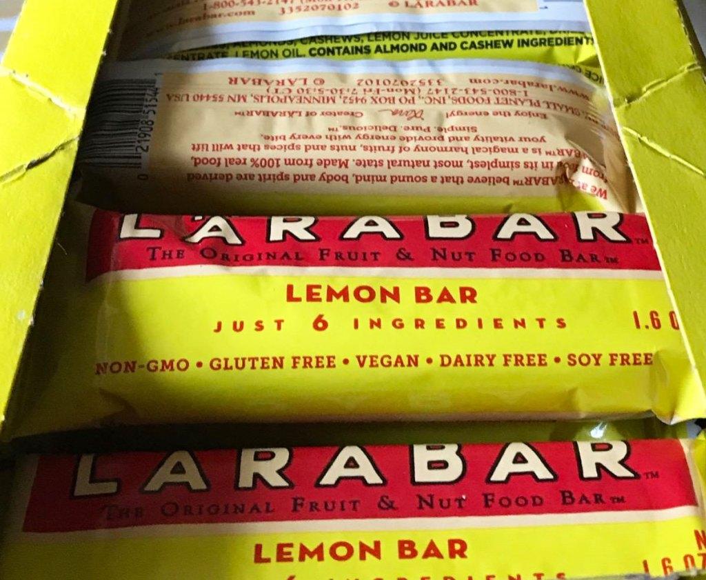 box of yellow larabar lemon bars
