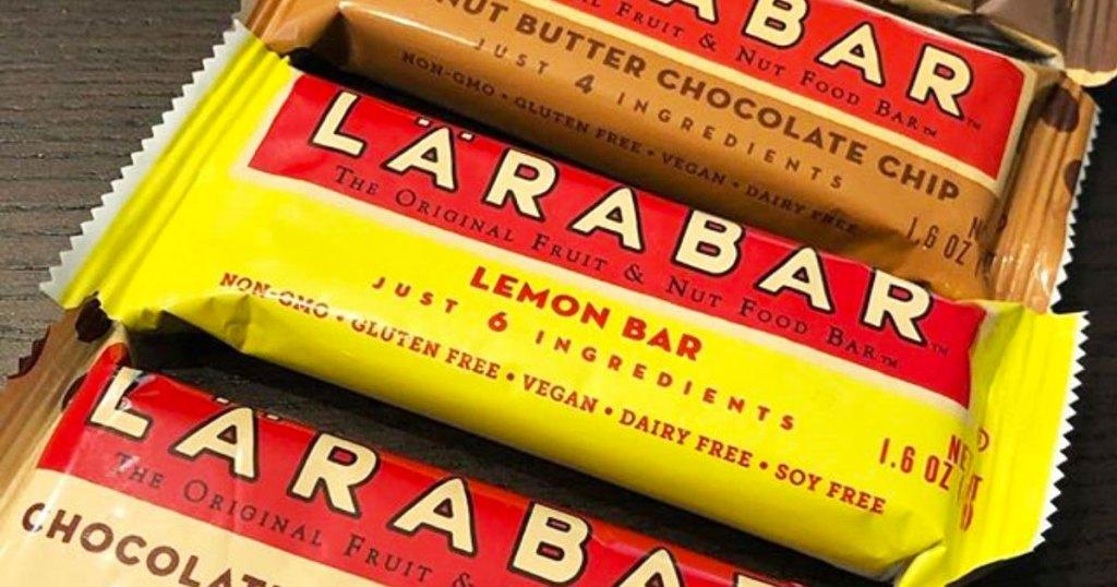 yelloww lemon flavored larabar near other flavors of larabars