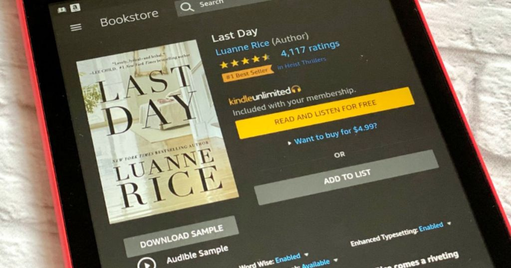 Kindle screen showing purchase screen for Last Day