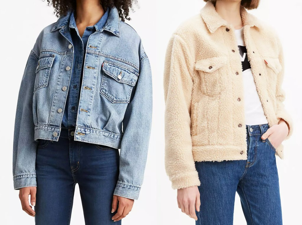 two women modeling levi's jackets in light wash denim and cream colored sherpa