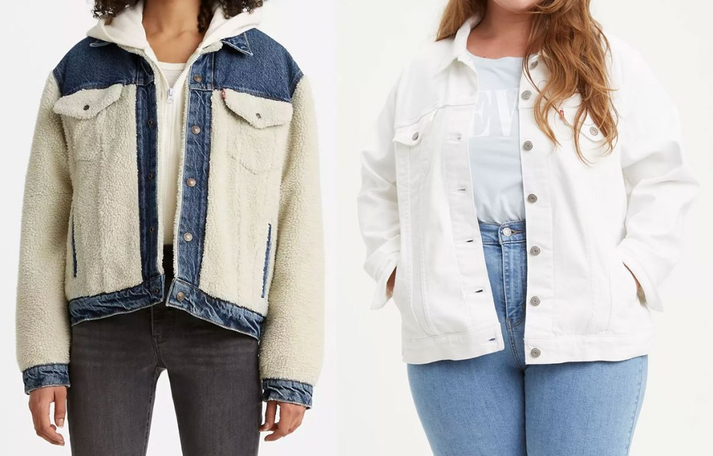 two women modeling levi's jackets in denim with sherpa pieces and solid white denim