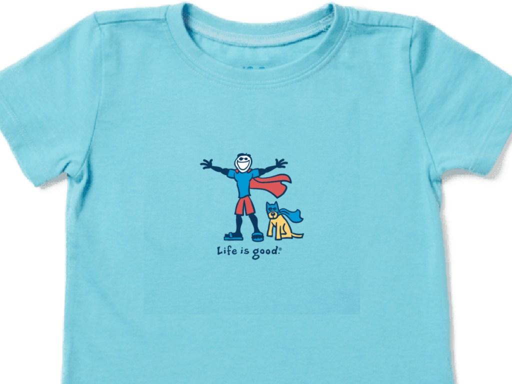 blue life is good superhero jake shirt