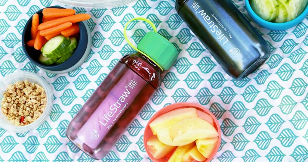 pink lifestraw water bottle with green lid on a picnic blanket with snacks and another blue water bottle
